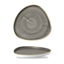 Churchill Stonecast Peppercorn Grey Chefs' Triangle Walled Plate 26cm