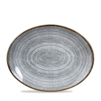 Churchill Studio Prints Homespun Oval Coupe Plate Stone Grey 31.7 x 25.5cm