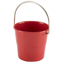 Stainless Steel Miniature Bucket Red 4.5cm