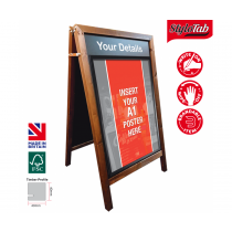 Wood Frame Blackboard A-Board with Double Sided Fitted Poster Holder Medium