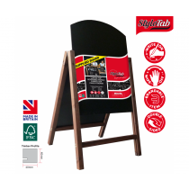 Curved Top Wood Frame Blackboard A Board with Reversible Panels Small