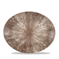 Churchill Studio Prints Raku Zircon Brown Oval Coupe Plate 31.7 x 25.5cm