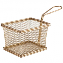 Rectangular Mini Serving Fry Basket Copper 12.5 x 10 x 8.5cm