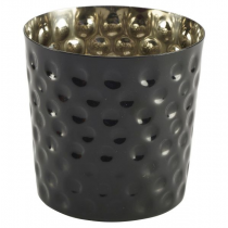 Stainless Steel Serving Cup Hammered Black 8.5cm