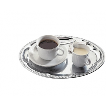 Oval Tea Tray Chrome Plated Stainless Steel 30 x 22cm