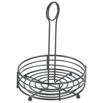 Black Wire Round Table Caddy 6.5inch