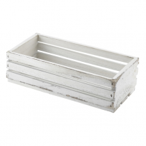 Wooden Crate White Wash Finish 25 x 12 x 7.5cm