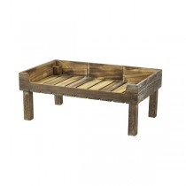 Wooden Display Crate Stand Rustic Finish 53 x 32 x 21cm