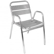 Bolero Aluminium Stacking Chairs Arched Arms