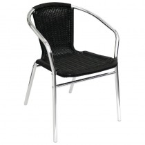 Bolero Aluminium and Wicker Armchairs Black