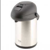 Tea Inscribed Vacuum Pump Pot Stainless Steel 2.5L