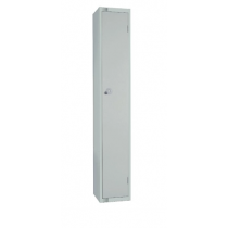 Elite Single Door Camlock Locker with Flat Top Grey 300mm