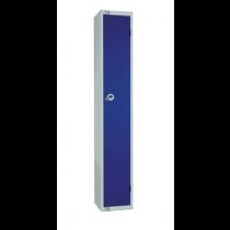 Elite Single Door Camlock Locker with Flat Top Blue 300mm