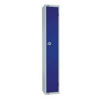 Elite Single Door Padlock Locker with Flat Top Blue 300mm