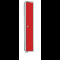 Elite Single Door Camlock Locker with Flat Top Red 300mm