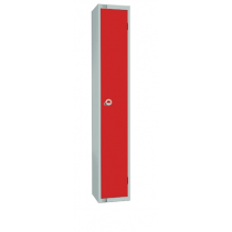 Elite Single Door Padlock Locker with Flat Top Red 300mm