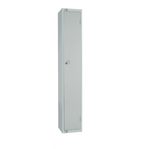 Elite Single Door Camlock Locker with Flat Top Grey 450mm