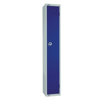 Elite Single Door Camlock Locker with Flat Top Blue 450mm