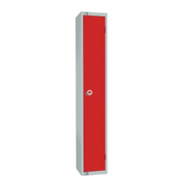 Elite Single Door Padlock Locker with Flat Top Red 450mm