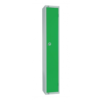 Elite Single Door Camlock Locker with Flat Top Green 450mm