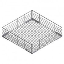 Wide-mesh wire basket with flat bottom