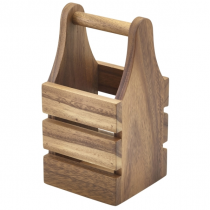 Acacia Wood Cutlery Holder 10 x 10 x 20cm