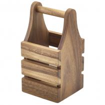 Acacia Wood Cutlery Holder 10 x 10 x 20cm