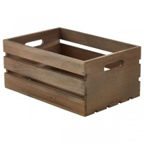 Wooden Crate Dark Rustic Finish 34 x 23 x 15cm