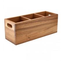 Acacia Wood 3 Compartment Cutlery Box