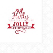 Jolly Holly Cocktail Napkins 2ply 25cm