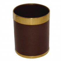 Bolero Brown Waste Paper Bin with Gold Rim 10.2Ltr
