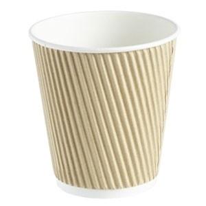 Kraft Ripple Disposable Paper Coffee Cups 10oz / 280ml