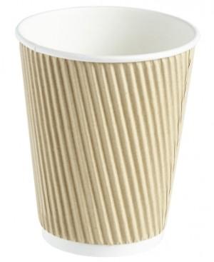 Kraft Ripple Disposable Paper Coffee Cup 12oz / 340ml