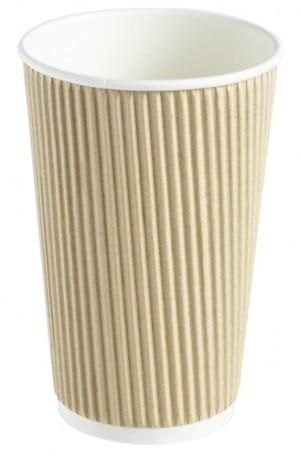 Kraft Ripple Disposable Paper Coffee Cup 16oz / 453ml