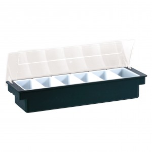 Condiment Dispenser 6 Compartments Black
