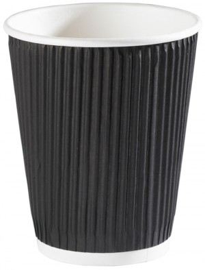 Black Ripple Disposable Paper Coffee Cups 12oz / 340ml