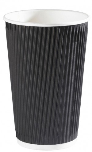 Black Ripple Disposable Paper Coffee Cups 16oz / 453ml