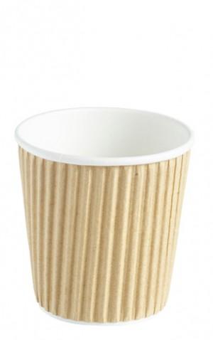 Kraft Ripple Disposable Paper Coffee Cups 4oz / 120ml