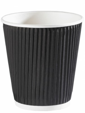 Black Ripple Disposable Paper Squat Coffee Cup 12oz / 340ml