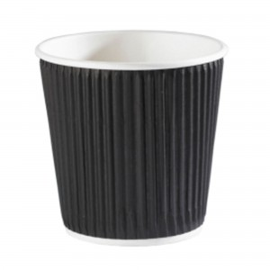 Black Ripple Disposable Paper Coffee Cups 4oz / 120ml