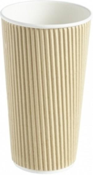 Kraft Ripple Disposable Paper Coffee Cup 20oz / 568ml
