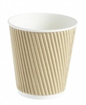 Kraft Ripple Disposable Paper Squat Coffee Cup 12oz / 340ml