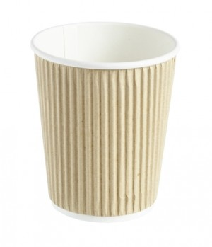 Kraft Ripple Disposable Paper Coffee Cup 8oz / 227ml