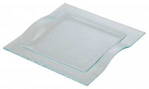 Square Glass Plate with Handles 24.8 x 24.5cm