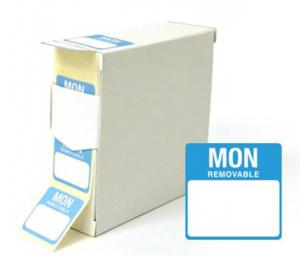 Food Labels Square Monday 25x25mm Blue