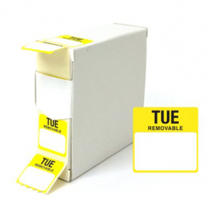 Food Labels Square Tuesday 25x25mm Yellow