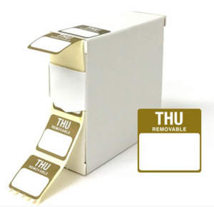 Food Labels Square Thursday 25x25mm Brown