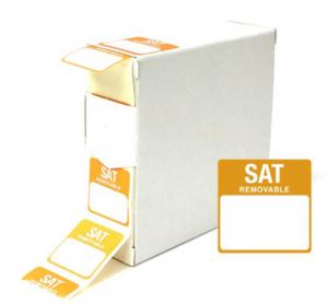 Food Labels Square Saturday 25x25mm Orange