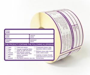 Food Preparation & Allergen Warning Labels 60x95mm