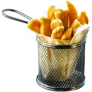 Stainless Steel Serving Fry Basket Round 9.3 x 9cm